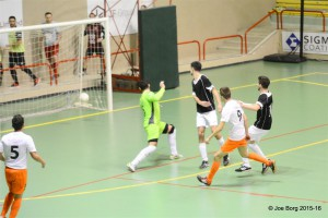 Kaca scores one his six goals for Lija against Mdina.